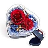 Rosa Eterna Natural Anillos Caja,Flores Preservadas Joyero Mujer,Caja Regalo Aniversario Pareja Bodas,Anillo de Joyería para San Valentin,Novia,Cumpleaños,Madre (Roja,Corazón)