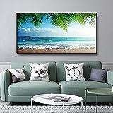 ZHANGPENGBOFBH Quadro su Tela Tropicale Naturale Mare Spiaggia Paesaggio Poster e Stampe Panorama Quadro scandinavo Immagine per Soggiorno 70x140 cm Senza Cornice