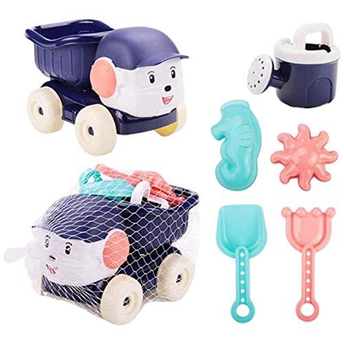 libelyef 6 juguetes de arena para niños, juguetes de playa de verano, juguetes de arena para niños, juego con rastrillo de arena, pala de arena, carrito de cuatro ruedas para niños, niños y niñas