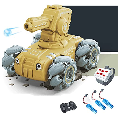KGUANG Gesture Induction RC Tank 4WD Apuntar y lanzar una Bomba de Agua 2.4G Control Remoto Mecha Coche de Combate Batalla giratoria Juguete eléctrico para niños Coche blindado Niño Cumpleaños Regalo