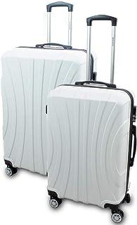 BERWIN Kofferset L  XL 2-teilig Reisekoffer Trolley Hartschalenkoffer ABS Teleskopgriff Modell Strike Weiß