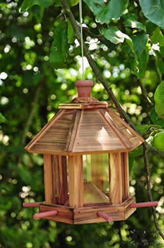 Futterhaus - Vogelhaus * / mit Beleuchtung LED-Leuchte Garten,Vogelhäuschen Garten mit 6 x Futterdosierer und Silo,Nistkasten GEFLAMMT,gefla NEU Futterfläche,/ HOLZHAUS-GEFLAMMT,-Vogel