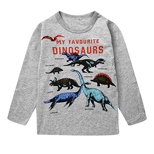 Popshion Toddler Shirts Cotton Crewneck Boys T-Shirt Cartoon Long Sleeve Tops Tees Shirts 1-7T
