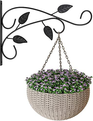 ANSUG Soportes para colgar plantas, 2 ganchos de hierro para colgar en la pared, soportes de metal para plantas de jardín para macetas de flores, linternas, campanillas de viento, comederos de pájaros