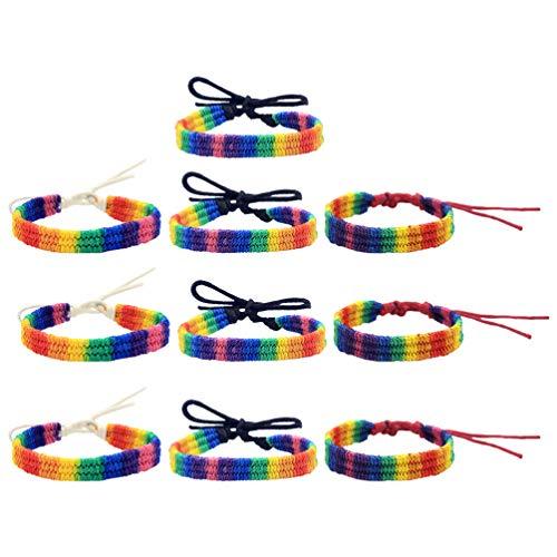 Amosfun LGBTQ - 10 pulseras de cuerda trenzada con símbolo del orgullo LGBTQ para homosexuales, con orgullo gays, homosexual, joyas de orgullo (mezcladas)