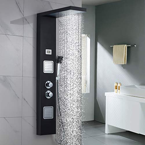 Edelstahl Duschpaneel mit Thermostat Schwarz Duschsystem mit Regenbrause, Brausekopf und Massagedüsen, WOOHSE 3 Funktionen Duschset Duschsäule Duscharmatur ohne Armatur für Badezimmer & Dusche