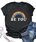 Be You T Shirt Women Rainbow Graphic Tee Summer Casual Vacation Shirts Letter Print Short Sleeve Tops