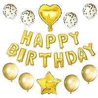 バルーン 11pcs /セットローズゴールドハッピーバースデーレターホイルバルーンセット子供大人の誕生日パーティーの装飾のためのアルファベットスターハートのバロン (Color : Gold)
