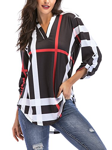 St. Jubileens Women Roll-Up 3/4 Sleeve Plaid Shirt Tunic V Neck Casual Pullover Blouses Tops Large, Black