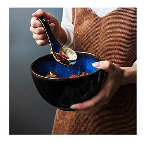 LYQZ Bleu céramique Bol Japonais Creative Accueil Couverts Ramen Soupe Retro Bowl Rice Bowl 700ml Protection de l'environnement