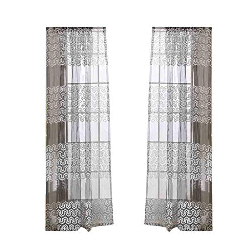 Best Leaves Sheer Curtain Tulle Window Treatment Voile Drape Valance Fabric for Bedroom (Gray)