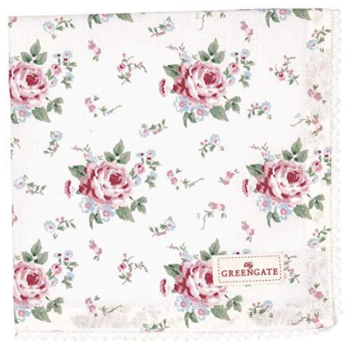 GreenGate Stoffserviette mit Spitze Serviette Marley Petit White Blumenmuster 40 x 40 cm Landhaus