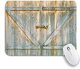 Benutzerdefiniertes Büro Mauspad,Blaue graue hölzerne Grunge rustikale Planken Scheune Haus Holz und Nägel Lodge Hartholz Grafikdruck,Anti-Slip Rubber Base Gaming Mouse Pad Mat