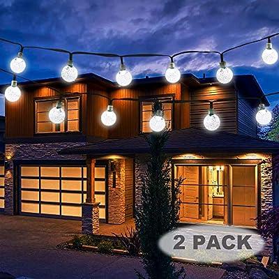 Vivii Solar String Light 20 ft 30 LED Crystal Ball Waterproof String Lights Solar Powered Fairy Lighting for Garden Home Landscape Holiday Decorations, White, 2 Pack