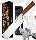 Caridano® Juego de cuchillos de carnicero, incluye guantes de protección contra cortes, hacha afilada con mango de madera Pakka, cuchillo de carne, incluye caja de regalo en diseño de cobre