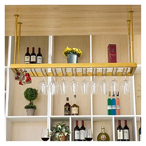 Sywlwxkq Upside down wine glass holder, gold cup holder, household mug holder,European hanging goblet holder, bar table hanging cup holder (Color : Gold, Size : 120 * 35cm)