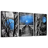 Wall Art Canvas Decor Black and white tree blue Moon Landscape Canvas Wall Art Canvas Printings Wall Art for Home Decor Living Room Bedroom Kitchen Perfect 3 Panels Wall Decorations Artwork