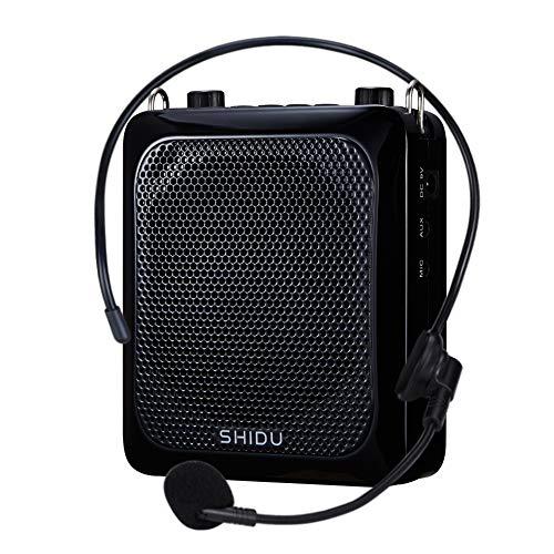 APROTII Altavoz amplificador de voz de 25 W 2000 mAh con auriculares de micrófono portátil, amplificador impermeable de voz altavoz Bluetooth recargable para profesores, aula, ancianos, etc.