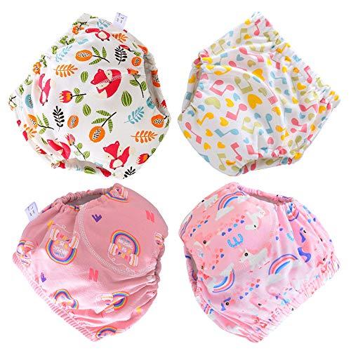 Ecloud Shop Calzoncillos de pañal de tela lavables reutilizables de 4 piezas para niñas, talla M (6-12 kg)