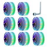 TOBWOLF 82A 58 mm x 32 mm Light Up Quad Roller Skate Ruote Luminose LED Lampeggianti per pattinaggio a doppia fila, Ruote in PU di ricambio per Shortboard