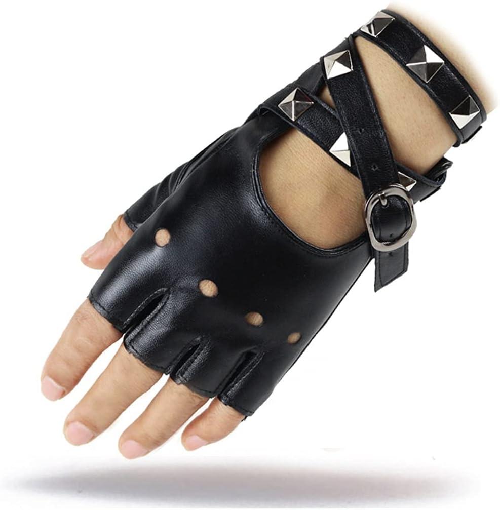 WBDL 1 Pair Half Finger PU Leather Gloves Women Rock Punk Style Rivet Fingerless Black Gloves New Mittens