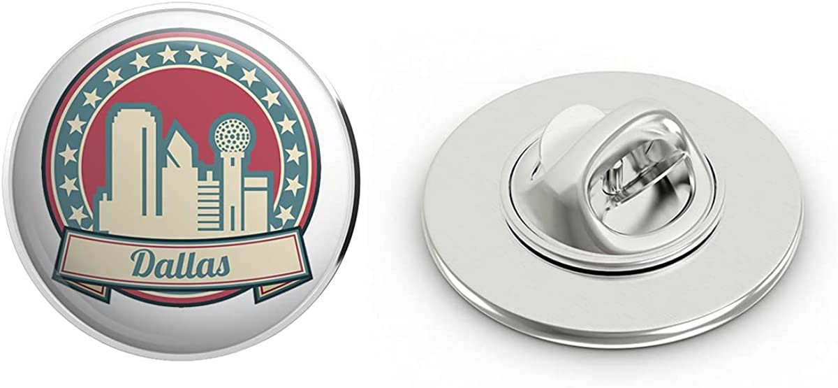BRK Studio American Famous City Cartoon Icon - Dallas Round Metal 0.75