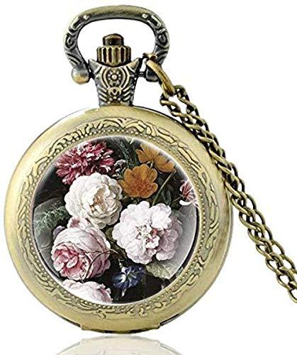 Charm Pretty Flower Design Reloj de bolsillo de cuarzo vintage Hombres Mujeres Collar colgante Horas Reloj Regalos