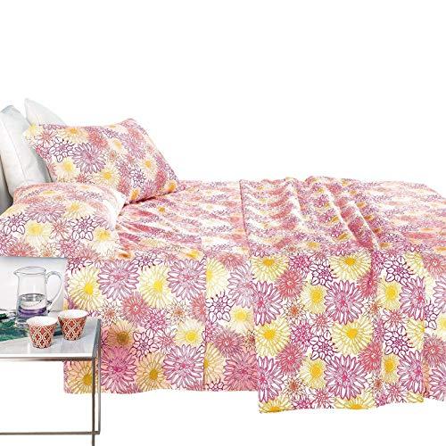 Caleffi - Juego completo de sábanas para cama tropea de algodón puro 100 % (fucsia, 1 plaza y media)