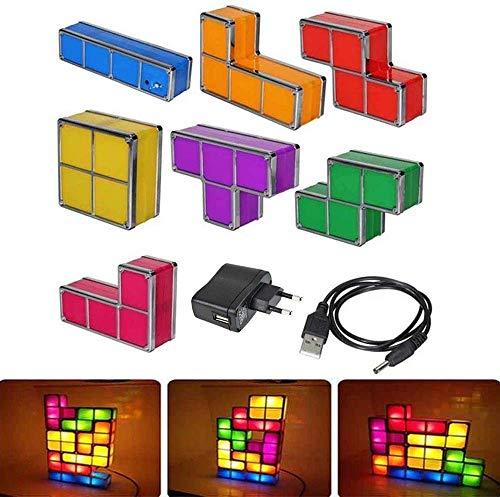 Luces Tetris, 7 Piezas de Rompecabezas apilables de Bricolaje Luz de Noche con Bloqueo de inducción LED, lámpara de Escritorio de Juguete 3D, Luces para niños