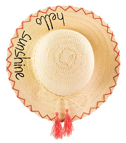Girls Straw Hello Sunshine Summer Hat, Kids Packable Dress Up Sun Hat w/Tassels (Pink)