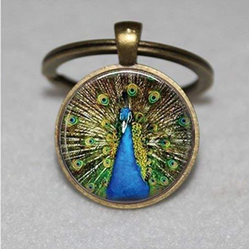 Llavero de pavo real, azul, regalo para su llavero, hecho a...