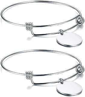 Custom Engraving Stainless Steel Charm Expandable Nameplate Bracelet Adjustable Bangle Personalized for Women Girl Sister
