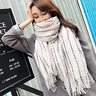Winter Long Scarf Scarf Women's Autumn and Winter Wild Thick Long Section bib Winter Knit Warm Dual-use Shawl (Color : Red) Winter Soft Scarf (Color : Beige)