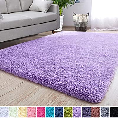 Noahas Super Soft Modern Shag Area Rugs Fluffy Living Room Carpet Comfy Bedroom Home Decorate Floor Kids Playing Mat 3 Feet by 5 Feet, Purple