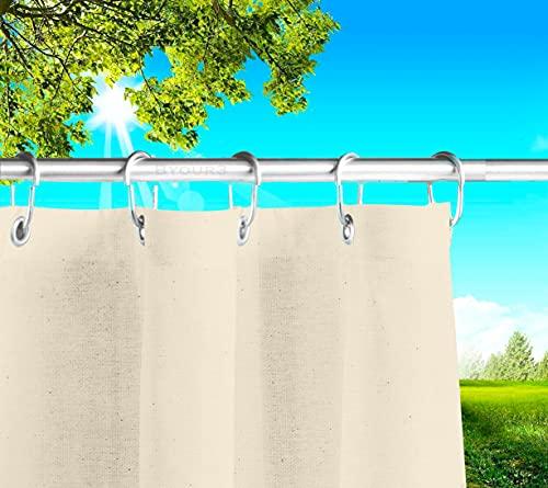 Tende Da Sole per Esterno Con Anelli a Caduta Su Misura MADE IN ITALY Stoffa Tessuto Impermeabile Antimuffa TELi Parasole Laterali Gazebo Balconi Terrazzo Veranda Camper (Panna, L.190 x 285h)