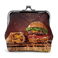 Tasty Burger With French Fries 小銭入れ レディース レザー 財布 ウォレット お札入れ キュート カード入れ