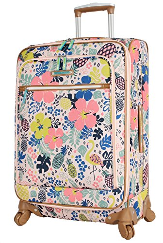 Lily Bloom Luggage 24' Expandable Design Pattern Suitcase With Spinner Wheels For Woman (24in, Trop Pineapple)