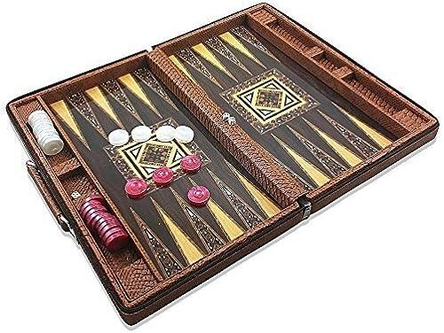 promociones emocionantes Luxury Leather Backgammon Set - Board Game- Game- Game- 17.5 Travel Attache Case by Star  Mercancía de alta calidad y servicio conveniente y honesto.
