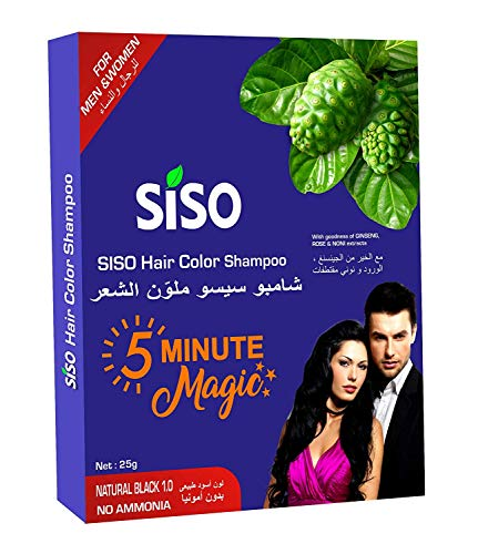 Siso 5 Minute Magic Hair Color Shampoo, Natural Black 25gm (Pack of 10)