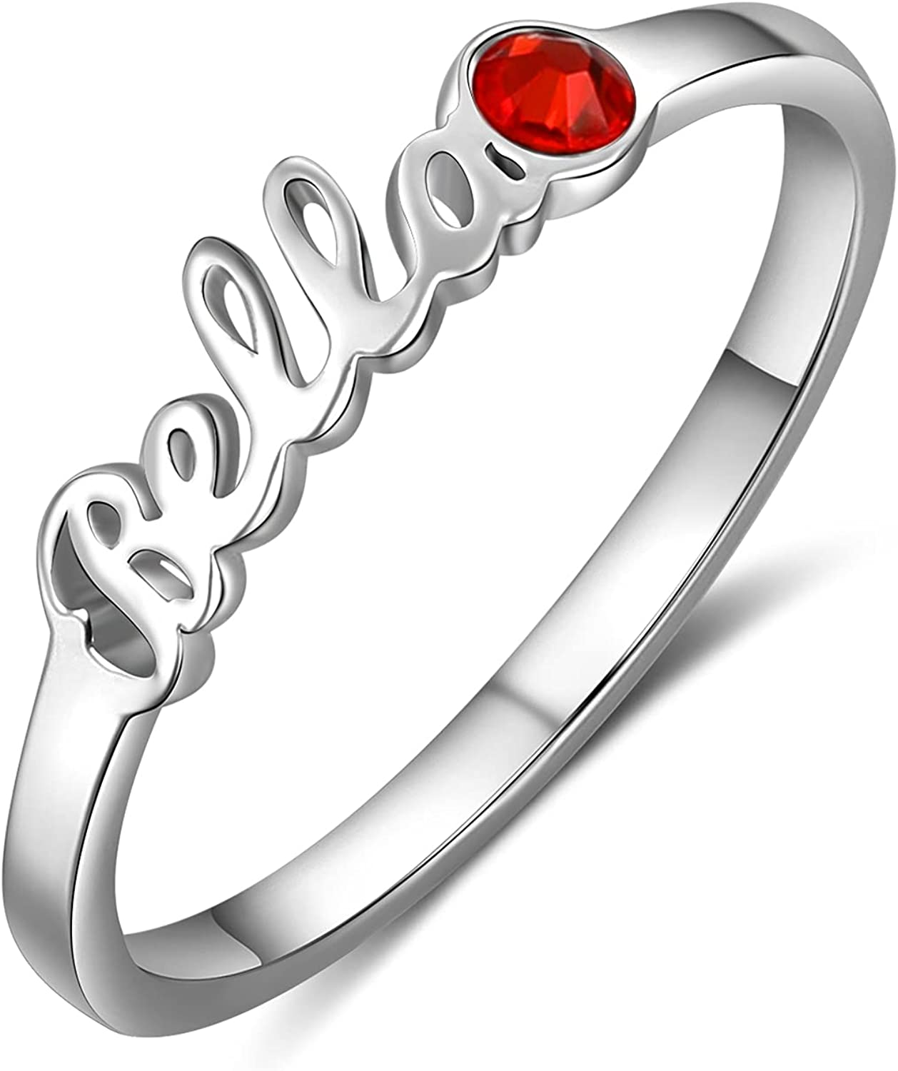 LanM Personalized Rings for Women Mothers Ring with 1-4 Simulated Birthstones Custom Name Rings Infinity Rings Promise Rings for Her Gift for Women Girls