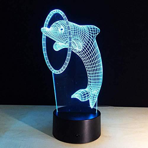 3D ilusión lámpara de escritorio Luz De Noche Led dolphin decoración de dormitorio regalo lámpara de noche creativa regalo Con interfaz USB, cambio de color colorido