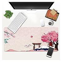 デスクマット ピンクの桜マウスパッドゲーマーロックエッジソフトサクラゲーミングマウスパッドマウンテン滑り止めラバーコンピューターデスクマットパッドマウス (Color : A2, Size : LockEdge800x300x3mm)