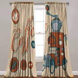 LCGGDB Retro Blackout Curtains,Artsy Commercial Design of Vintage Truck with Coffee Grinder Old Fashioned Room Darkening Blackout Drapes for Home Decoration,42'x 84',2 Panels,Cream Orange Grey