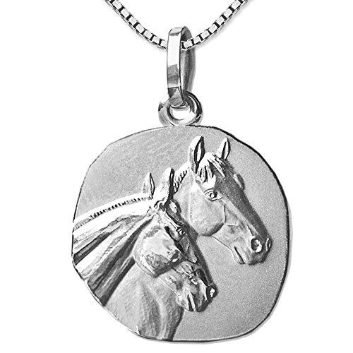 CLEVER SCHMUCK Conjunto de joyas plateadas en forma de medalla, diámetro de aprox. 18mm, con 2cabezas de caballo, mate y brillante, con cadena Venezia de 45cm, plata de ley 925, baño derod