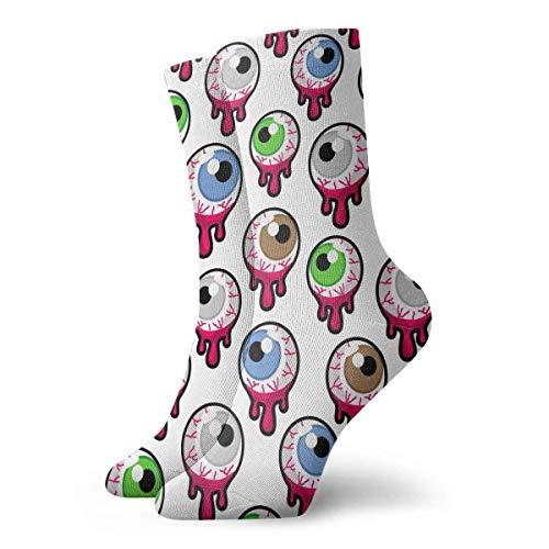 Chaussettes de Compression Zombie Sanglant ou Globes oculaires extraterrestres sur Chaussettes en Coton à la Cheville Haute Blanche Femmes Hommes Poids léger