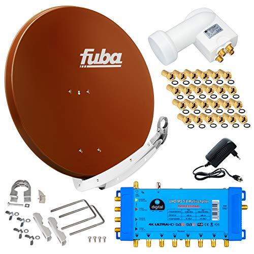 FUBA 8 Teilnehmer Digital SAT Anlage DAA850R + Opticum LNB 0,1dB Full HDTV 4K + PMSE Multischalter 5/8 + 24 Vergoldete F-Stecker Gratis dazu