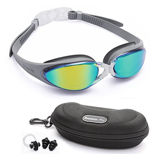 Bezzee-Pro Swimming Goggles for Adult Men and Women - UV Protected - Anti-Fog Unisex Swim Goggles (Silver/Colored Mirror)