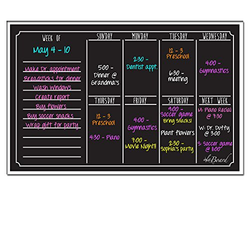 Ala Board Dry Erase Magnetic Weekly Calendar – Black Fluorescent