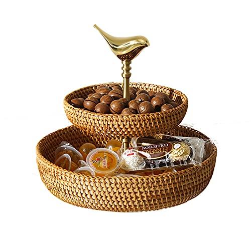 LXLTL Frutero de Dos Niveles Ratán Tejido, Bocadillos Decorativos Hechos a Mano de la Fruta del Pan de Mimbre Cuenco de Almacenamiento Rústico Elegante