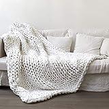 EXQUILEG Manta de punto gruesa hecha a mano, manta de punto de lana para mascotas, sofá, cama o silla, manta de lana gruesa para decoración del hogar, regalo (blanco, 120 x 180 cm)